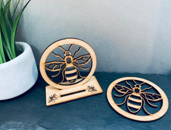 Bee Coaster Set Of 2 With Stand