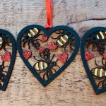 Pack of 3 Bee Heart Baubles 7
