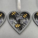 Pack of 3 Bee Heart Baubles 3
