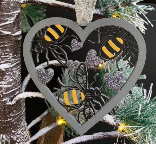 Pack of 3 Bee Heart Baubles
