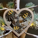 Pack of 3 Bee Heart Baubles 6