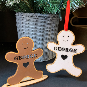Gingerbread Person Stand or Bauble - Personalised