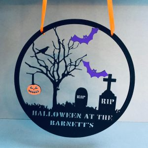 "Personalised Halloween At The ""Family Name"" Hanger"